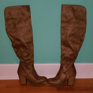 Sand colored suede knee high heeled boots